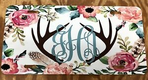 Personalized Monogram Boho License Plate Flower Car Tag Boho Antler Car Tag New