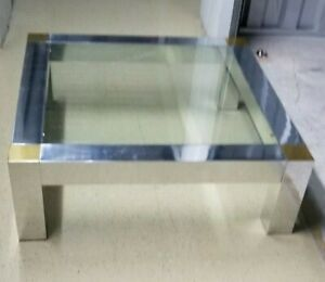 Mid Century Modern Vintage Chrome Glass Brass Coffee Table Milo Baughman Regency