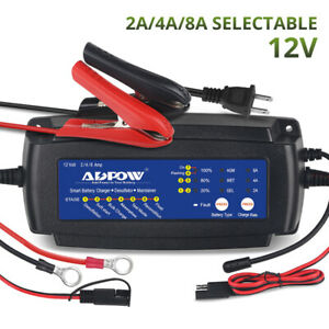 Us 12v 2a 4a 8a 7 Stage Smart Waterproof Automatic Battery Charger For Car Truck
