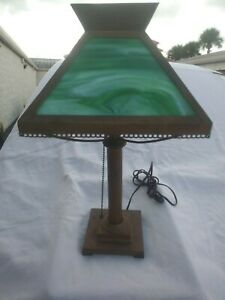 Antique Arts Crafts Bryant Lamp With Green Slag Glass Shade Just 99