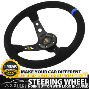 Blue 35cm Deep Dish 6 Bolt Sport Racing Steering Wheel Suede Leather Horn Button