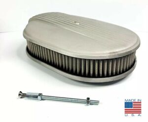 12 Oval Unpolished Fading Finned Air Cleaner For Ford Chevy Dodge the Comet