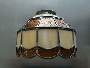Vintage Mission Style Stained Slag Glass Lamp Shade Browns