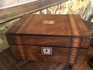 English Wooden Victorian Sewing Notions Box Inlay Mop 19th Century