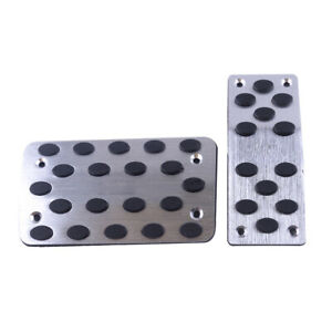 Universal Racing Sports Non slip Automatic Car Gas Brake Pedals Pad Cover Silver