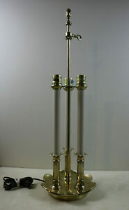 Vintage Stiffel Solid Brass French Bouillotte Lamp Three Bulb Desk Table 2