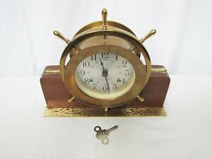 Vintage Seth Thomas 8 Day Ships Wheel Bell Clock With Stand
