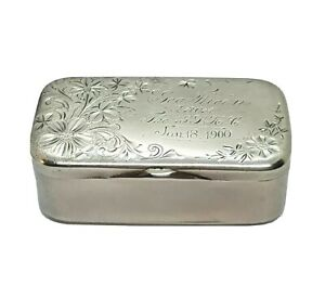 Antique Sterling Silver 1900 Snuff Trinket Jewelry Box Whiting Manufacturing Co