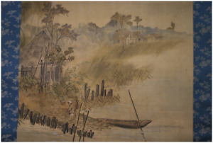 Japanese Painting Hanging Scroll Japan Keinen Imao Country House Silk W Box F S