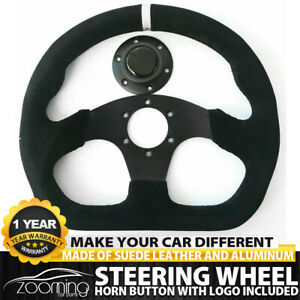 Universal 320mm 13in Black Suede Leather Flat Steering Wheel Drift Rally White