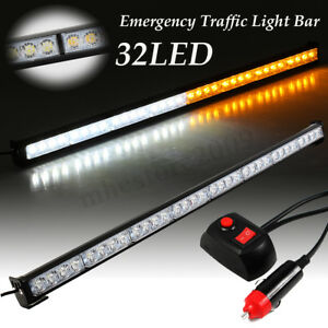 36 32 Led 12v Truck Strobe Light Bar Emergency Warning Advisor Amber