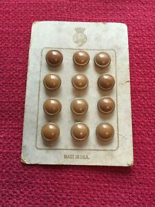 Vintage 12 Celluloid Carmel Colored Buttons On Original Card