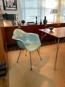 Eames Zenith 2nd Generation Sea Foam Green Dax Fiberglass Shell Arm Chair