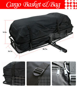 Fit Jeep Car Rear Hitch Basket Travel Luggage Carrier Cargo Extension Rack Bag