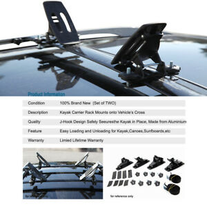 Universal Kayak Carrier Canoe Roof Top Rack Black Cross Bar Mounted For Volvo