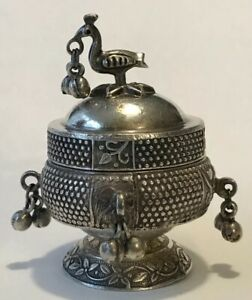 Vintage Sterling Silver Round Trinket Box Figural Bird On Lid And Bell Dangles