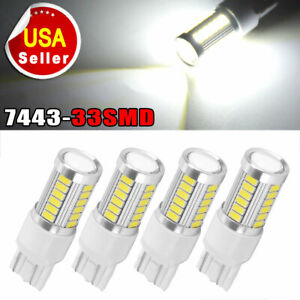 4x White 7443 7440 33smd Led Light Bulbs Tail Brake Stop Backup Reverse T20 12v