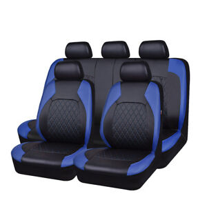 Pvc Leather Blue Full Set Breathable Universal Car Seat Cover For 40 60 50 50