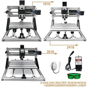 3 Axis Cnc Router Kit 1610 2418 3018 500mw 2500mw 5500mw Laser Engraver Diy