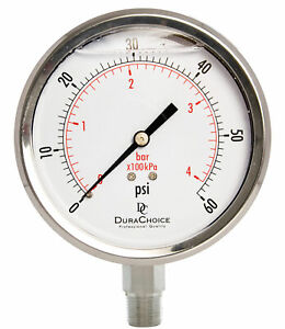 4 All Stainless Steel Pressure Gauge 3 8 Npt Lower Mnt 60psi