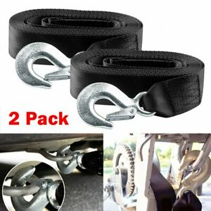 2 Pack 2 x20 Heavy Duty Winch Tow Loop Strap Recovery 4x4 Rope Chain Towing Tow