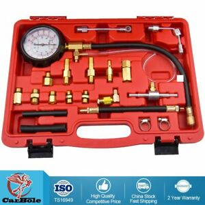 Gasoline Fuel Injection Pump Pressure Gauge Tester Car Tools Set 140psi 10bar Us