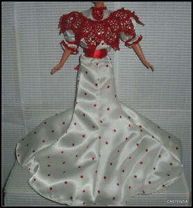 DRESS BARBIE DOLL SODA FOUNTAIN  COCA COLA  WHITE & RED GOWN  CLOTHING ACCESSORY