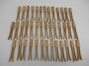 Old Vintage Lot 40 Wood Square Top Clothes Pins Laundry Arts Crafts Antique