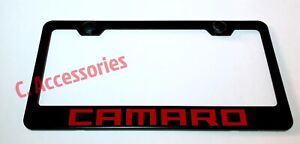 Red Camaro Stainless Steel Finished License Plate Frame Rust Free W Cap