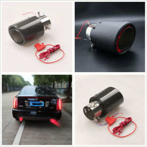 1 Pcs Carbon Fiber Look 63mm 2 5 Car Exhaust Muffler Pipe With Red Led Light