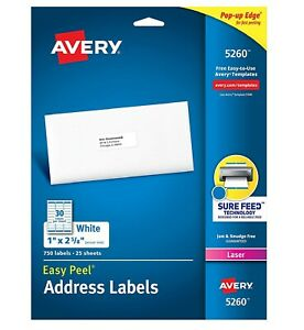 1 Box Of 750 Avery Laser Address Labels 5260 Easy Peel White 1 X 2 5 8