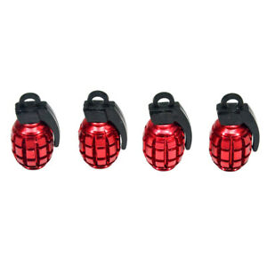 4x Red Grenade Bomb Exterior Wheel Tyre Tire Valve Stems Air Dust Cover Caps New