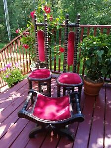 Vintage Jacobean Style Hall Chairs Prayer Chairs Gothic Curule Chair Stool