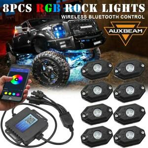 8x Rgb Led Rock Light Underbody Trail Glow Lamp Bluetooth Control For Ford Truck