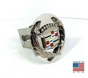 Chrome Cadillac Emblem Trailer Tow Hitch Cover Stainless Steel 2 Plug