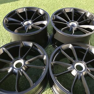 20 Porsche 991 991 1 Center Lock Gt3 Rs 911 Wheels Rims Oem Factory Set Black