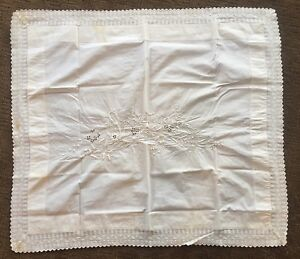 Vtg Antique White Embroidery Lace Edge Cutwork Pillow Cover Always Happy