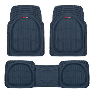 Rubber Car Floor Mats Charcoal Blue For Automotive Interior 3pc Set
