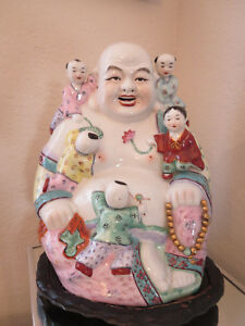 Chinese Porcelain Happy Buddha With Five Children