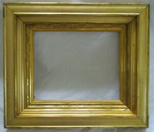 Antique Fits 8x10 Bright Gold Gilt Picture Frame Wood Gesso Fine Art Country