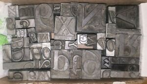 Printing Press Letters Linotype (Lead mix) For Antique Press 40+- Blocks 3Lbs-