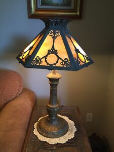 Nice Antique Arts Crafts Table Lamp Six Panel French Revival Slag Glass Shade