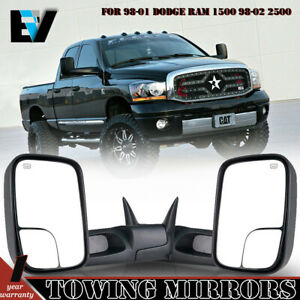 For 98 2001 Dodge Ram 1500 2500 3500 Towing Mirrors Pickup Flip Up Power Heated