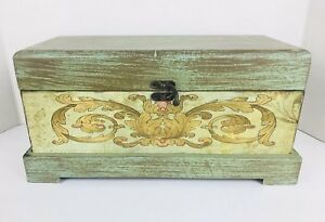 Shabby Chic Cottage Wooden Box Teal Floral Decorative Home Accent Decor Hinged