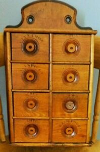 Antique 8 Drawer Stenciled Spice Cabinet Box Cupboard Apothecary Aafa