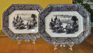 Pair Antique Staffordshire Flow Mulberry Ironstone Platters Rhone Scenery Mayer