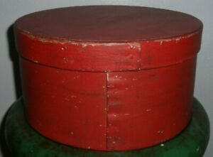 Large 9 3 4 Pantry Box Shaker Old Red Paint Spice Bentwood Firkin Aafa Signed