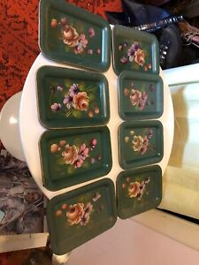 Set Of Eight 8 Toleware Vintage Miniature Green Metal Trays Hand Painted Roses