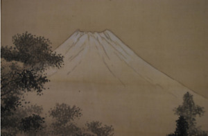 Japanese Painting Hanging Scroll Japan Keinen Imao Mt Fuji Shiraito Waterfall