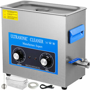 22l Ultrasonic Cleaner With Heater Timer Tub Basket Jewelry Water Drain Updated